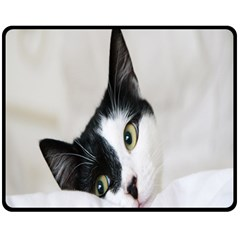 Cat Face Cute Black White Animals Double Sided Fleece Blanket (medium)  by Mariart