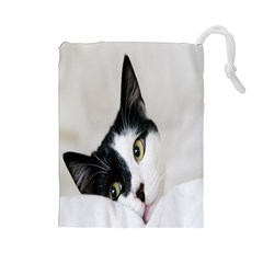 Cat Face Cute Black White Animals Drawstring Pouches (large)  by Mariart