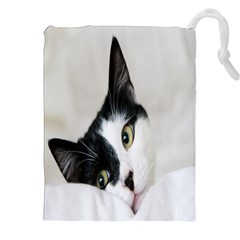 Cat Face Cute Black White Animals Drawstring Pouches (xxl) by Mariart