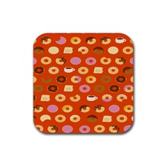 Coffee Donut Cakes Rubber Square Coaster (4 Pack)  by Mariart
