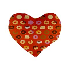 Coffee Donut Cakes Standard 16  Premium Flano Heart Shape Cushions by Mariart