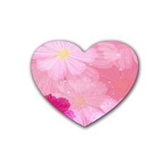 Cosmos Flower Floral Sunflower Star Pink Frame Heart Coaster (4 Pack)  by Mariart