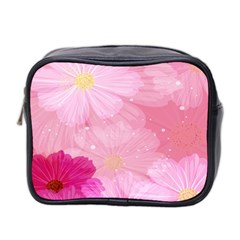 Cosmos Flower Floral Sunflower Star Pink Frame Mini Toiletries Bag 2 Side by Mariart