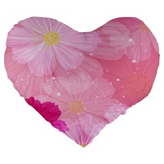 Cosmos Flower Floral Sunflower Star Pink Frame Large 19  Premium Heart Shape Cushions by Mariart