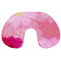 Cosmos Flower Floral Sunflower Star Pink Frame Travel Neck Pillows by Mariart