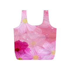 Cosmos Flower Floral Sunflower Star Pink Frame Full Print Recycle Bags (s)  by Mariart