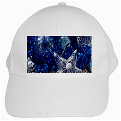 Christmas Silver Blue Star Ball Happy Kids White Cap by Mariart