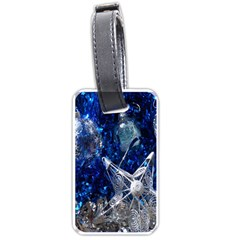 Christmas Silver Blue Star Ball Happy Kids Luggage Tags (one Side)  by Mariart