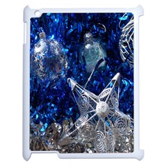 Christmas Silver Blue Star Ball Happy Kids Apple Ipad 2 Case (white) by Mariart