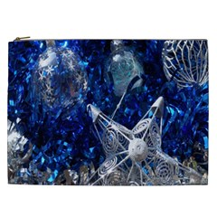 Christmas Silver Blue Star Ball Happy Kids Cosmetic Bag (xxl)  by Mariart