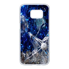 Christmas Silver Blue Star Ball Happy Kids Samsung Galaxy S7 Edge White Seamless Case by Mariart