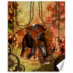 Steampunk, Steampunk Elephant With Clocks And Gears Canvas 11  X 14   by FantasyWorld7