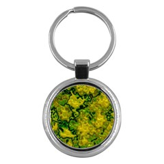 Wet Plastic, Yellow Key Chains (round)  by MoreColorsinLife