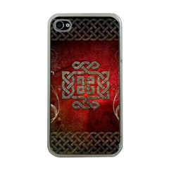 The Celtic Knot With Floral Elements Apple Iphone 4 Case (clear) by FantasyWorld7
