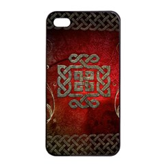 The Celtic Knot With Floral Elements Apple Iphone 4/4s Seamless Case (black) by FantasyWorld7