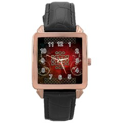 The Celtic Knot With Floral Elements Rose Gold Leather Watch  by FantasyWorld7