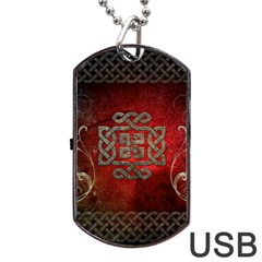 The Celtic Knot With Floral Elements Dog Tag Usb Flash (one Side) by FantasyWorld7