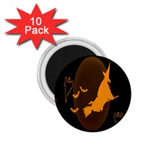 Day Hallowiin Ghost Bat Cobwebs Full Moon Spider 1 75  Magnets (10 Pack)  by Mariart