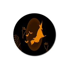 Day Hallowiin Ghost Bat Cobwebs Full Moon Spider Rubber Round Coaster (4 Pack)  by Mariart