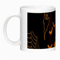 Day Hallowiin Ghost Bat Cobwebs Full Moon Spider Night Luminous Mugs by Mariart