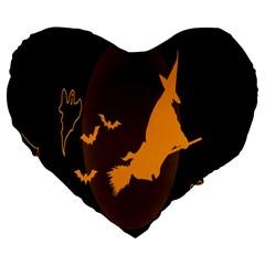 Day Hallowiin Ghost Bat Cobwebs Full Moon Spider Large 19  Premium Flano Heart Shape Cushions by Mariart