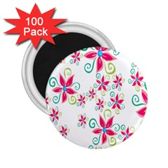 Flower Beauty Sexy Rainbow Sunflower Pink Green Blue 2 25  Magnets (100 Pack)  by Mariart