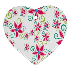 Flower Beauty Sexy Rainbow Sunflower Pink Green Blue Heart Ornament (two Sides) by Mariart
