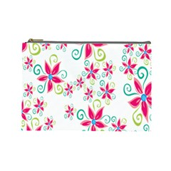 Flower Beauty Sexy Rainbow Sunflower Pink Green Blue Cosmetic Bag (large)  by Mariart