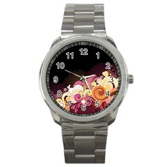 Flower Back Leaf Polka Dots Black Pink Sport Metal Watch by Mariart