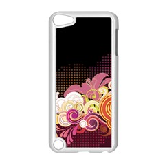 Flower Back Leaf Polka Dots Black Pink Apple Ipod Touch 5 Case (white) by Mariart