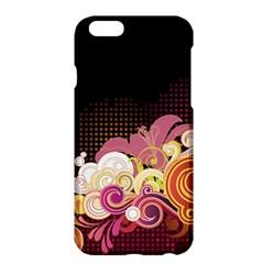 Flower Back Leaf Polka Dots Black Pink Apple Iphone 6 Plus/6s Plus Hardshell Case by Mariart