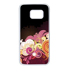 Flower Back Leaf Polka Dots Black Pink Samsung Galaxy S7 White Seamless Case by Mariart