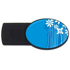 Flower Blue Usb Flash Drive Oval (4 Gb) by Mariart