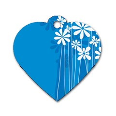 Flower Blue Dog Tag Heart (two Sides) by Mariart