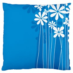 Flower Blue Large Cushion Case (two Sides) by Mariart