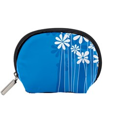Flower Blue Accessory Pouches (small)  by Mariart