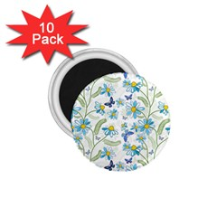 Flower Blue Butterfly Leaf Green 1 75  Magnets (10 Pack)  by Mariart