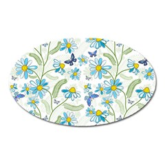 Flower Blue Butterfly Leaf Green Oval Magnet by Mariart