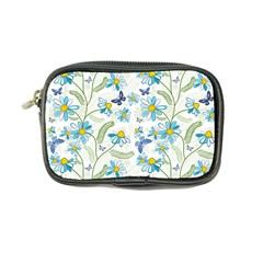 Flower Blue Butterfly Leaf Green Coin Purse by Mariart