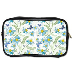 Flower Blue Butterfly Leaf Green Toiletries Bags by Mariart