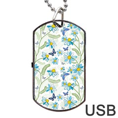 Flower Blue Butterfly Leaf Green Dog Tag Usb Flash (two Sides) by Mariart