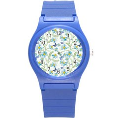 Flower Blue Butterfly Leaf Green Round Plastic Sport Watch (s) by Mariart