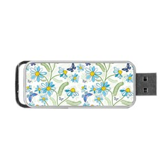 Flower Blue Butterfly Leaf Green Portable Usb Flash (one Side) by Mariart