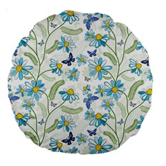 Flower Blue Butterfly Leaf Green Large 18  Premium Round Cushions by Mariart