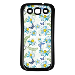 Flower Blue Butterfly Leaf Green Samsung Galaxy S3 Back Case (black) by Mariart
