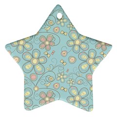 Flower Blue Butterfly Bird Yellow Floral Sexy Ornament (star) by Mariart