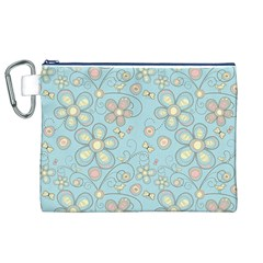 Flower Blue Butterfly Bird Yellow Floral Sexy Canvas Cosmetic Bag (xl) by Mariart