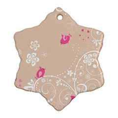 Flower Bird Love Pink Heart Valentine Animals Star Ornament (snowflake) by Mariart