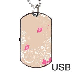 Flower Bird Love Pink Heart Valentine Animals Star Dog Tag Usb Flash (two Sides) by Mariart