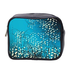 Flower Back Leaf River Blue Star Mini Toiletries Bag 2 Side by Mariart